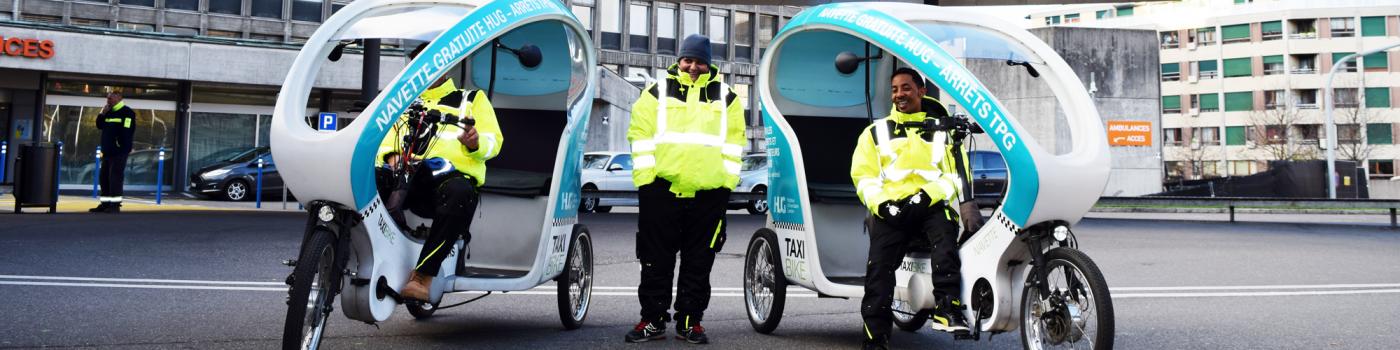 Un vélo-taxi comme navette